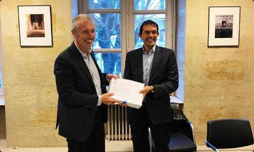 Jean Ducros et Salvatore Alaimo lors du rachat de HDUCROS par Dimotrans Group